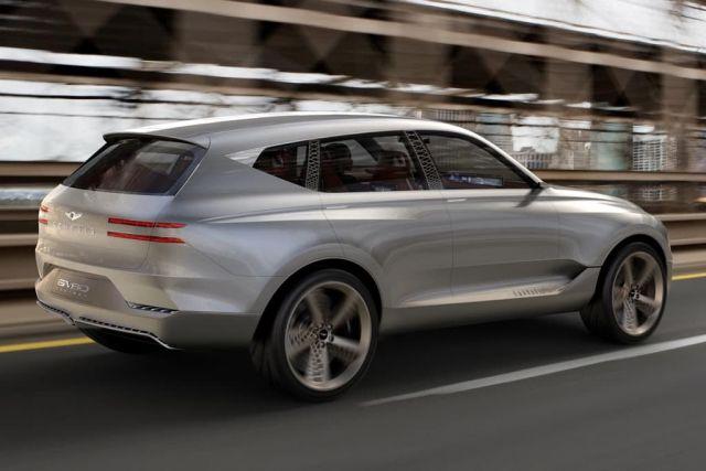2020 Genesis GV80 side-rear view